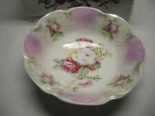 Vintage bavarian serving bowl with roses scalloped rim white background
