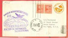 USA Prexie Prexy 22c Pair used on FLIGHT Cover to Calcutta India 1947