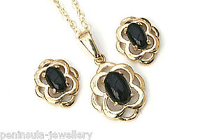 9ct Gold Black Onyx Pendant and Studs Earring Celtic Set Gift Boxed Made in UK