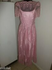 VTG HANDMADE USA LACED BABY PINK BALL COCKTAIL GOWN DRESS FLORAL RARE UNIQUE 7/8