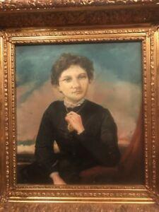 Antique 19th.c Victorian Era Primitive Folk Art Portrait Oil on Wooden Board