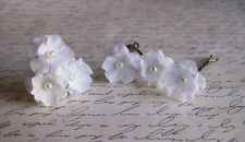 Small White Flower Hair Pins - Set of Six - Weddings, Bridal, Handmade