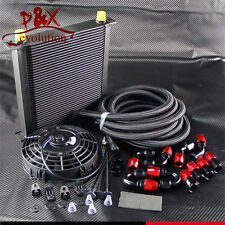 """40 Row AN10 Engine Oil Cooler + 5M 10-AN Oil Line Fittings + 7"""" Electric Fan Kit"""