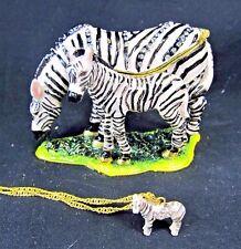 Zebra Mother w/ baby Grazing Jeweled Pewter Trinket Box w/ necklace Home Decor