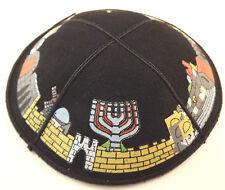 Black Suede Jerusalem Israel Yarmulke Kippah 16 Cm Jewish Hat Kippa Cupples