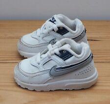 Nike Bebé Zapatillas Talla 3 Blanco Duro Soles Plata Swoosh Con Cordones Zapatos Cochecito