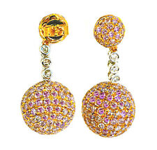 7.13ct Fancy Pink Diamonds Earrings 18K All Natural 9 Grams Real Gold Ball