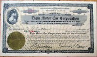 1917 Stock Certificate: 'Elgin Motor Car Corporation' - Illinois IL Automobile