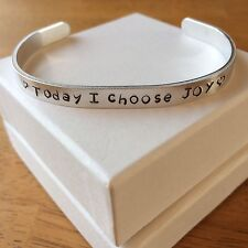 Today I choose JOY - Metal Stamped Bracelet Aluminum Cuff Bangle Customized GIFT