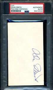 Dean Smith PSA DNA Coa Signed 3x5 Index Card Autograph