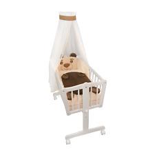 Wiege Schaukelwiege Babywiege Holz Weiss Bettset Plüschdecke NEU
