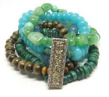 "7"" Multi-strand Green/Blue Stretch Bracelet~Fancy Floral Brass Connector Bar"