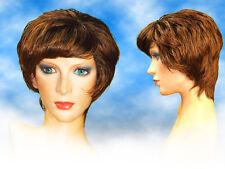 Short Med Brown Miss Prim Party/Fancy Dress Wig Woman or Man Geek Nerd /UK