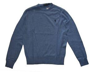 Polo Ralph Lauren Men's Cotton Cashmere Pulover Crew Neck Sweater Blue Size M