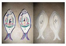 2 plats vide poche forme poisson décor Breton Homme et Femme; H B Quimper N°433