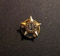 Vintage 60 YEAR SERVICE Goldtone Star Screw Back Pin