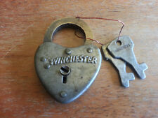 Winchester small HEART padlock Steel Case Brass Shackle Lock with 2 keys WORKS