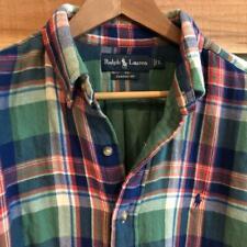 EUC Mens Lined Flannel Polo Ralph Lauren Pony Logo Plaid Print L/S Shirt L