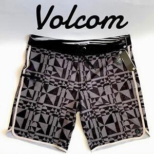 Volcom Mens Boardshorts Opticon Mod Size 36 Geometric Print Black Gray White New