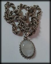Vintage 925 Solid Silver and Moonstone Cabochon Thick, Heavy Rope Chain Necklace