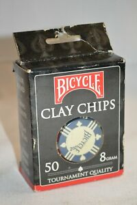 50 Pc Bicycle Clay Tournament Casino Quality Poker Texas Hold-Em 8 Gram Chips