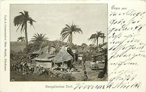 Early German Postcard Gruss aus Bengalisches Dorf Bengal India Pre-1905 Division