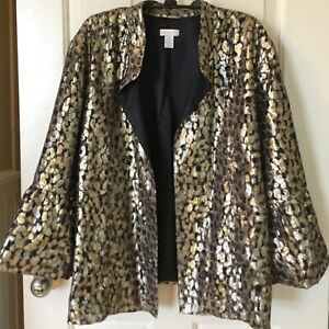 Chico's Shimmer Jacket 3/4 Sleeve Black Gold Tulip Sleeve Holiday sz 3 XL Glam