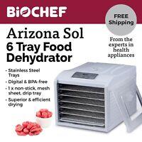 Best Food Dehydrator BioChef Arizona Sol 6 Trays Beef Jerky, Dried Fruit - White