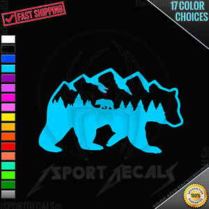 Bear with Mountains Outlined Bear Peel & Stick Car Window VINYL DECAL STICKER