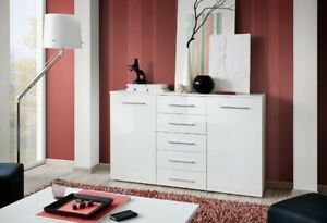 SB FOX 8 - white bedroom dresser / sideboard cabinet / white chest of drawers