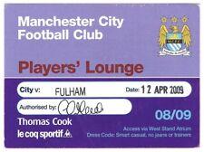 BIGLIETTO-Manchester City V Fulham 12.04.09 giocatori Lounge