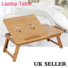 Portable Bamboo Laptop Notebook Computer Desk Bed Tray Stand Table With Drawer