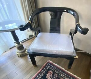 Lacquered James Mont Style Horseshoe Chair