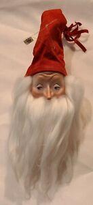 """Dept 56 Christmas Santa Face W/Long Beard Head Ceramic Wall Ornament 5-6"""""""