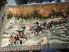 """Vintage Dog Sled Hang on the Wall Tapestry LG 72"""" x 48"""" Cabin Lodge Art"""