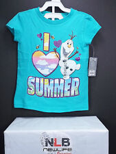 "Disney Store Frozen Olaf ""I Love Summer"" Short Sleeve T-Shirt Girls Size XS"