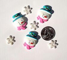 Christmas Snowmen & Snowflakes Resin Flatbacks embellishments scrapbooking glue