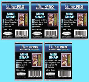 5 ULTRA PRO RECESSED MINI SNAP STANDARD SIZE Trading Card Holder Sports Case