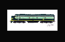 """Erie Railroad E8 #833 11""""x17"""" Matted Print Andy Fletcher signed"""