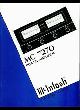 McIntosh MC 7270 Solid State Stereo Power Amplifier Orig Factory Owner's Manual