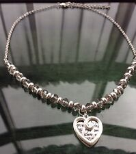Vintage Style Silver Tone Faceted Smoke Crystal Love Token Heart Charm Necklace