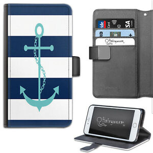 Navy Blue And White Stripe Anchor PU Leather Wallet Phone Case, Flip Case