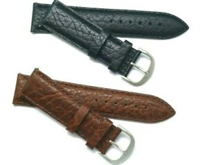 20mm 22mm Black or Brown Buffalo-Grain Leather Watch Band Silver Tone Buckle