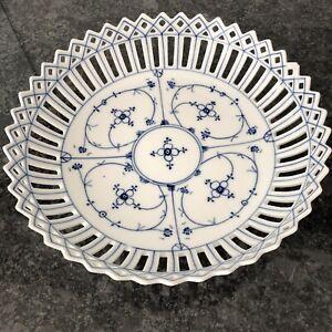 Antique ? Ceramic  Blue & White Basket Marked 'BS'