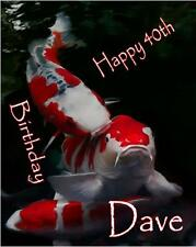 PERSONALISED KOI CARP FISH A5 BIRTHDAY CARD ANY NAME ANY AGE GREETING OCCASION