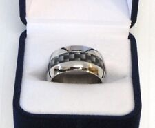 12mm Stainless Steel w/ Carbon Fiber Look Inlay Ring Band Size 10.5