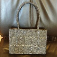 BEAUTIFULLY BEADED SILVER / BLUE-GRAY PURSE / HANDBAG NEW NEVER USED HOLIDAY