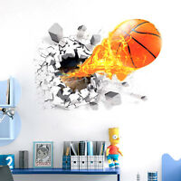 Removable 3D Basketball Wall Sticker Home Decor Kids Room Bedroom Mural New.