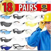 SAFETY GLASSES PROTECTIVE GLASSES ANSI Z87 18 PACK ASSORTMENT EYE PROTECTION