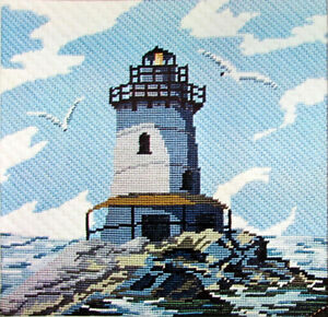 2x Needlepoint Kit/Canvas  Lighthouse(14x14)/Completed Floral Bellpull(7x65)-WB8
